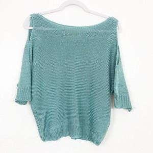 Carina Ricci Mint Green Cold Shoulder Knit Sweater
